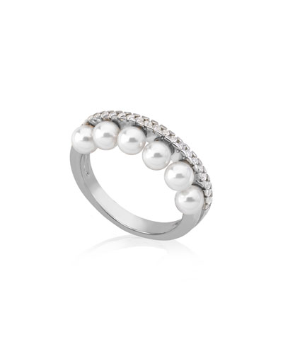 6-Pearl & Cubic Zirconia Ring  Size 8