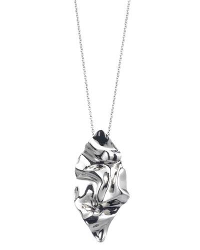 Crumpled Rhodium Pendant Necklace