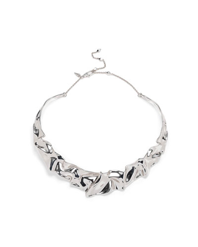 Crumpled Rhodium Collar Necklace
