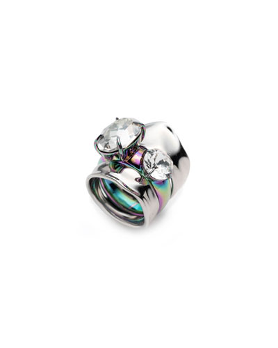 Liquid Crystal Stacked Rings  Set of 2