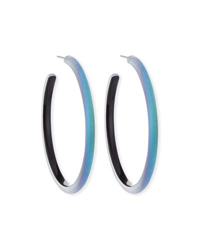 Large Skinny Hoop Earrings  Green