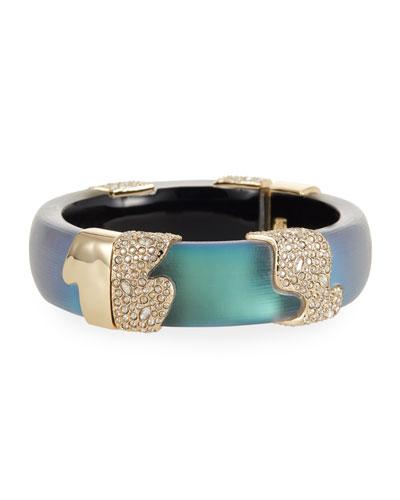 Crystal Encrusted Sectioned Hinge Bracelet  Green