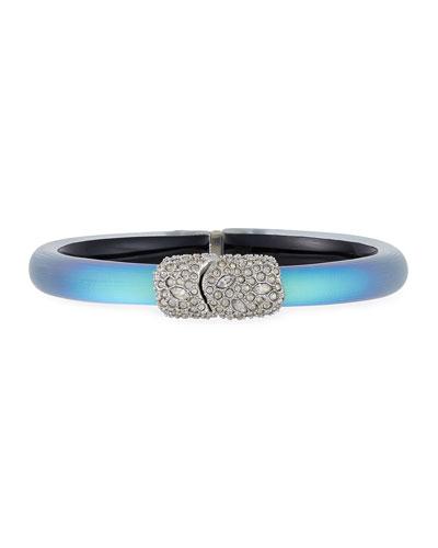 Crystal Encrusted Skinny Hinge Bracelet  Green