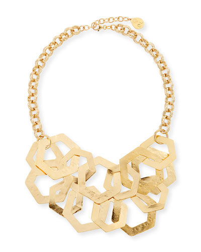 Double-Strand Hexagon Chain Necklace
