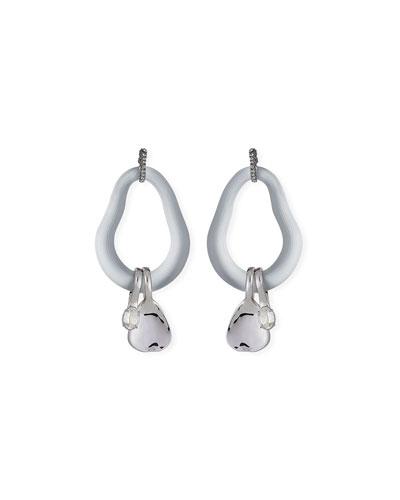 Organic Link Earrings w/ Crystal Drops  Silver