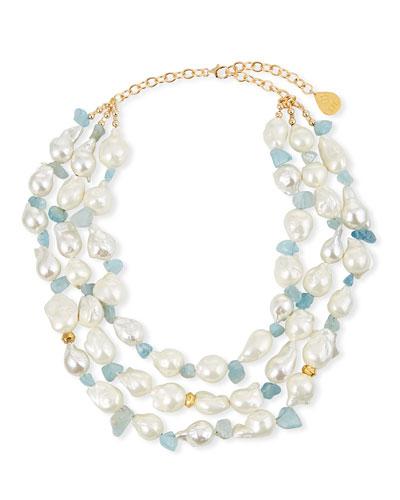 Pearl & Aqua Multi-Strand Necklace