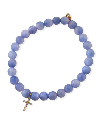 14k Small Diamond Cross & Agate Bracelet