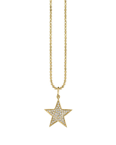 14k Medium Diamond Star Charm Necklace