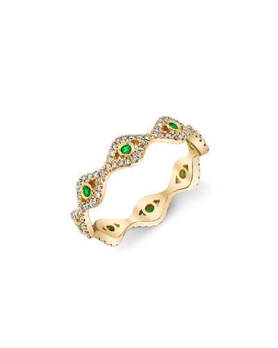 14k Small Evil Eye Eternity Ring w/ Diamonds  Size 6.25