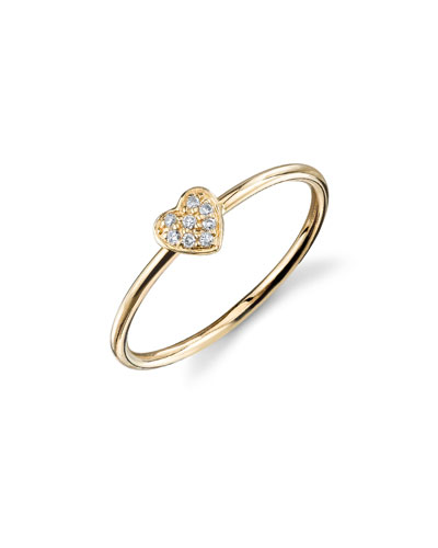 14k Diamond Pave Heart Ring  Size 6.5