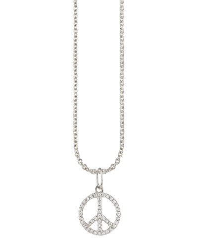14k White Gold Small Peace Charm Necklace w/ Diamonds