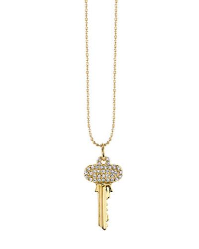 14k Small Key Charm Necklace w/ Diamonds
