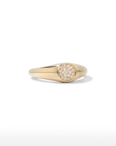14k Round Diamond Signet Ring  Size 6.5