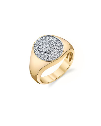 14k Small Round Diamond Pave Signet Ring  Size 6.5