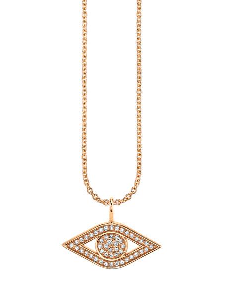 Sydney Evan Jewelry 14K ROSE GOLD SMALL DIAMOND EVIL EYE NECKLACE