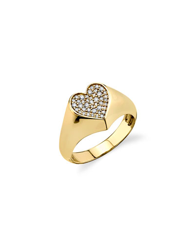 14k Small Diamond Heart Signet Ring  Size 6.5