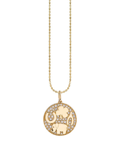 14k Luck Tableu Diamond Medallion Necklace