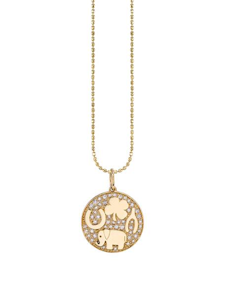 Sydney Evan Jewelries 14K LUCK TABLEAU DIAMOND MEDALLION NECKLACE