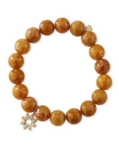 14k Diamond Marquise Flower & Silverite Bracelet