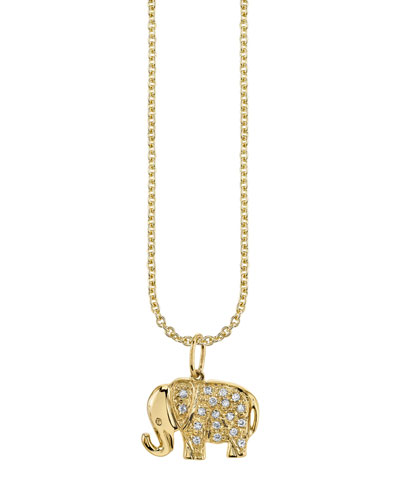 14k Diamond Elephant Charm Necklace