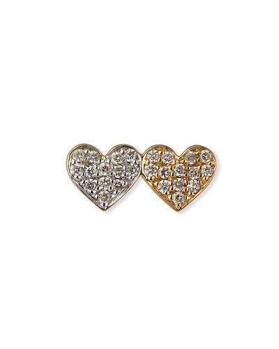 14k Double-Heart Diamond Stud Earring  Single