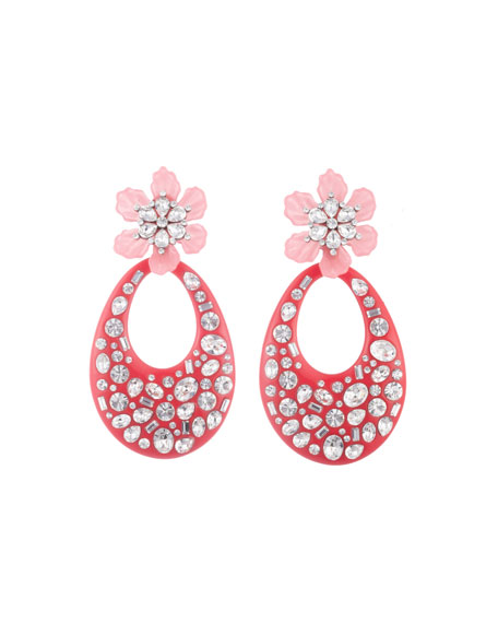Dannijo Accessories BLOSSOM CRYSTAL FLOWER & TEARDROP EARRINGS