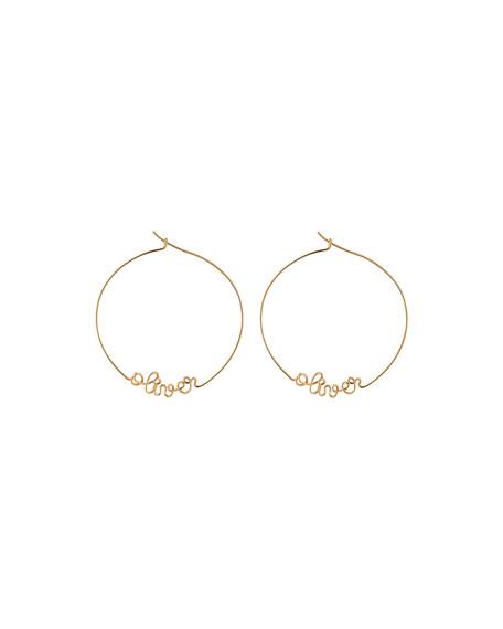 Atelier Paulin Accessories PERSONALIZED GOLD-FILLED HOOP EARRINGS, 6-10 LETTERS