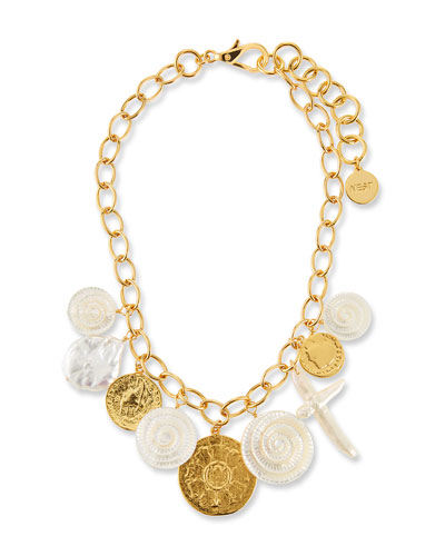 Short Chain Coin Charm Necklace
