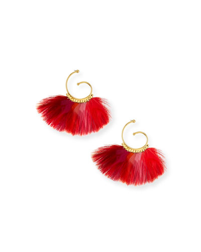 Buzios Mini Feather Fan Hoop Earrings