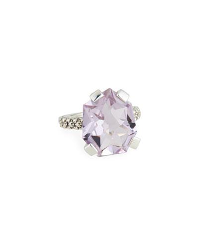 Flower-Engraved Medium Amethyst Ring  Size 7-9