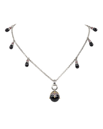 Pythia 6-Station & Black Onyx Pendant Necklace