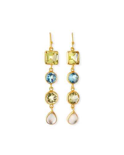 Multi-Stone 4-Drop Earrings