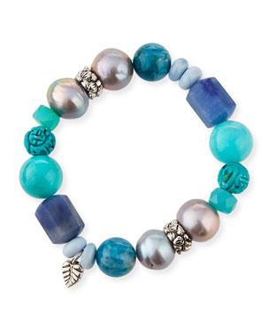 fca16483df7 Stephen Dweck Multi-Stone & Baroque Pearl Stretch Bracelet, Blue