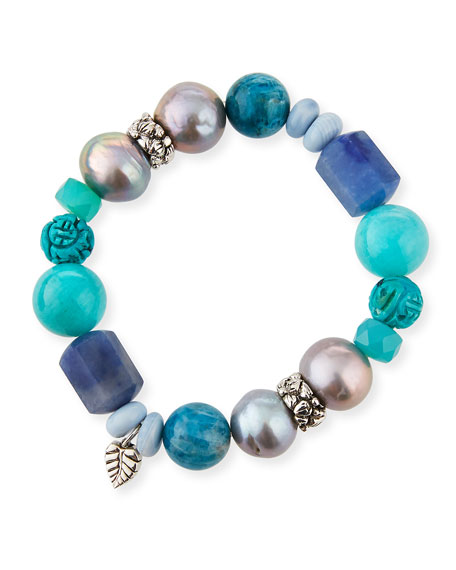 Image 1 of 2: Multi-Stone & Baroque Pearl Stretch Bracelet, Blue