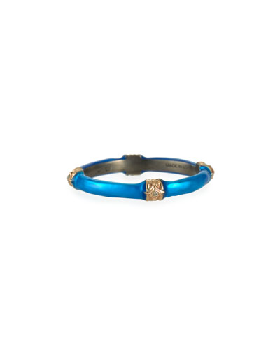 New World Blue Zircon Enamel Ring w/ Diamonds  size 6.5