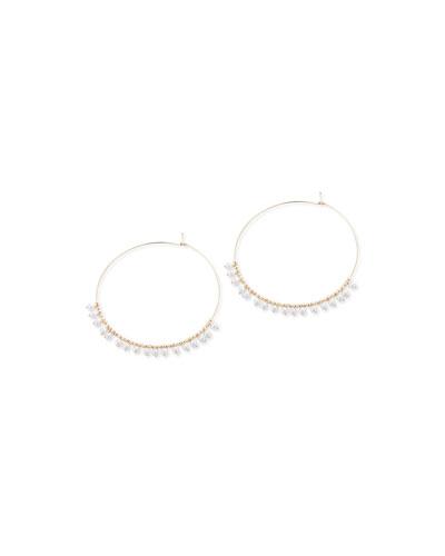 14k Gold Large Hoop & Pearl Dangle Earrings