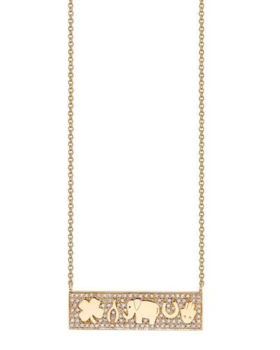 14k Luck Tableau Diamond Bar Pendant Necklace