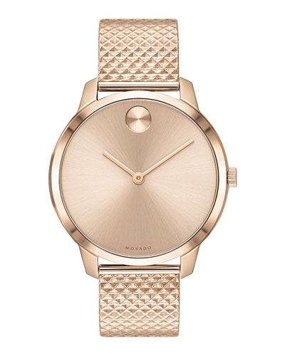 35mm Movado Bold Thin Watch w/ Mesh Bracelet, Carnation