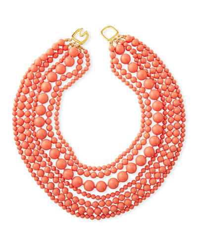 7-Strand Beaded Necklace  Coral