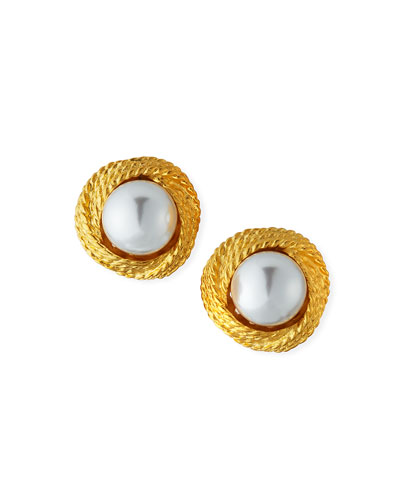 Pearly Cable Clip-On Earrings