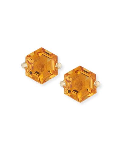 Amalfi 14k Yellow Gold Hexagon Stud Earrings  Light Orange