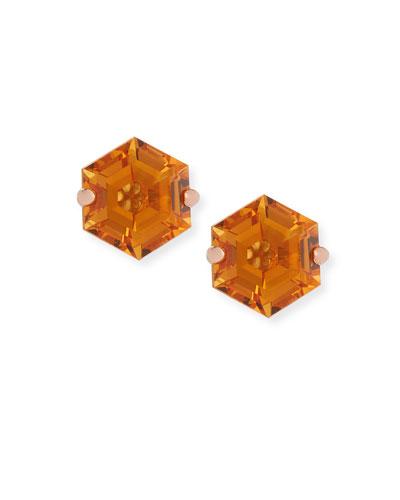 Amalfi 14k Rose Gold Hexagon Stud Earrings  Light Orange