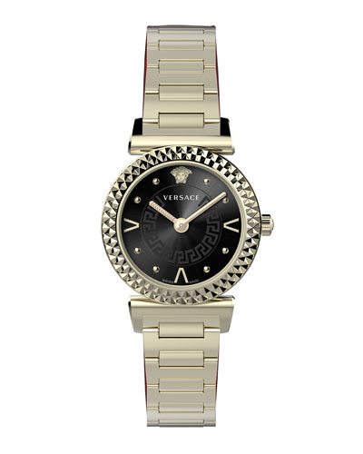Mini Vanity Watch w/ Bracelet  Gold/Black