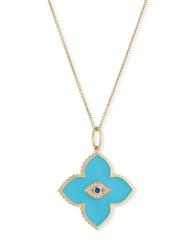 14k Moroccan Enamel & Evil Eye Necklace w/ Diamonds