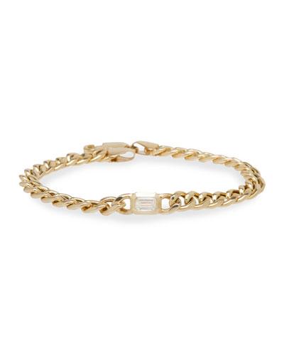 14k Emerald-Cut Diamond Chain Bracelet  6.5