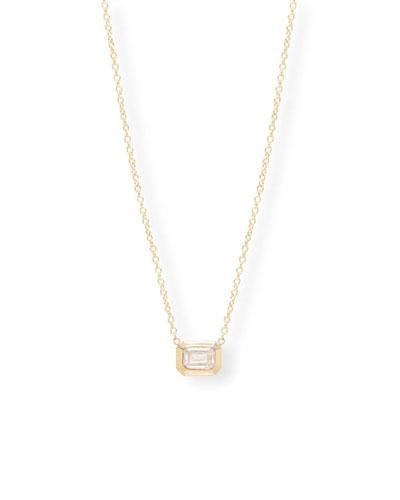 14k Gold Emerald-Cut Diamond Necklace