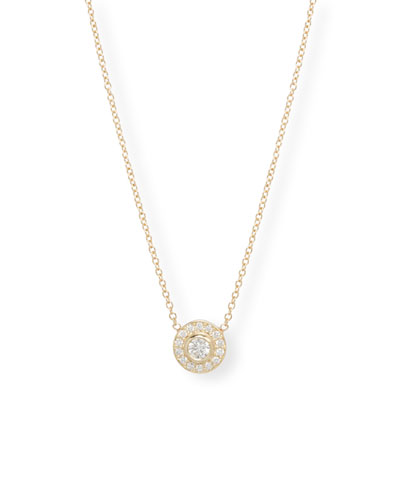 14k Diamond Bezel & Halo Pendant Necklace