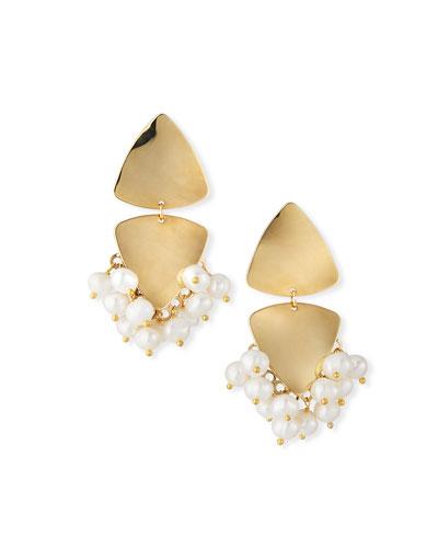Triangular Clip-On Earrings w/ Pearls