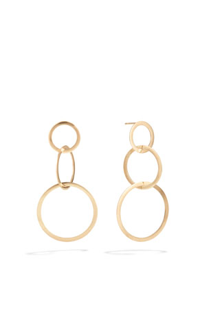 LANA Small 14k Gold Flat 3-Hoop Earrings