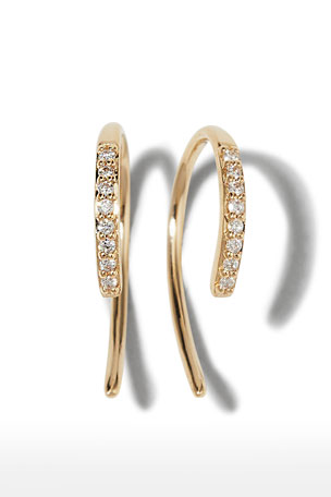 LANA 14k Diamond Mini Hooked Earrings